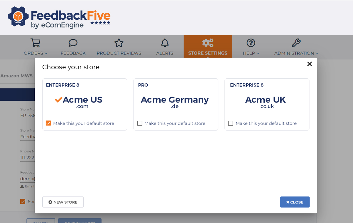 Choose your store view in FeedbackFive