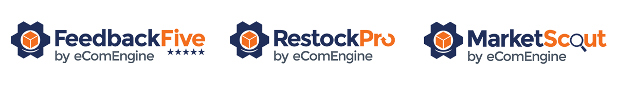 FeedbackFive, RestockPro, and MarketScout by eComEngine logos