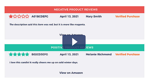 Negative and positive Amazon review alerts in FeedbackFive email