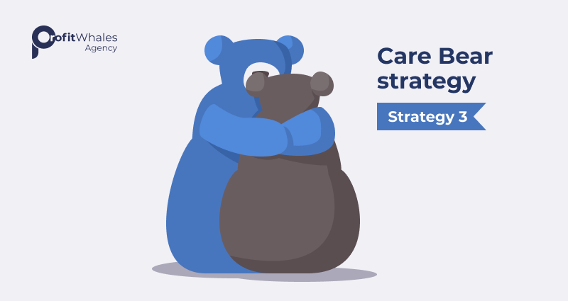 Illustration of two bears hugging with text, Strategy 3 care bear strategy