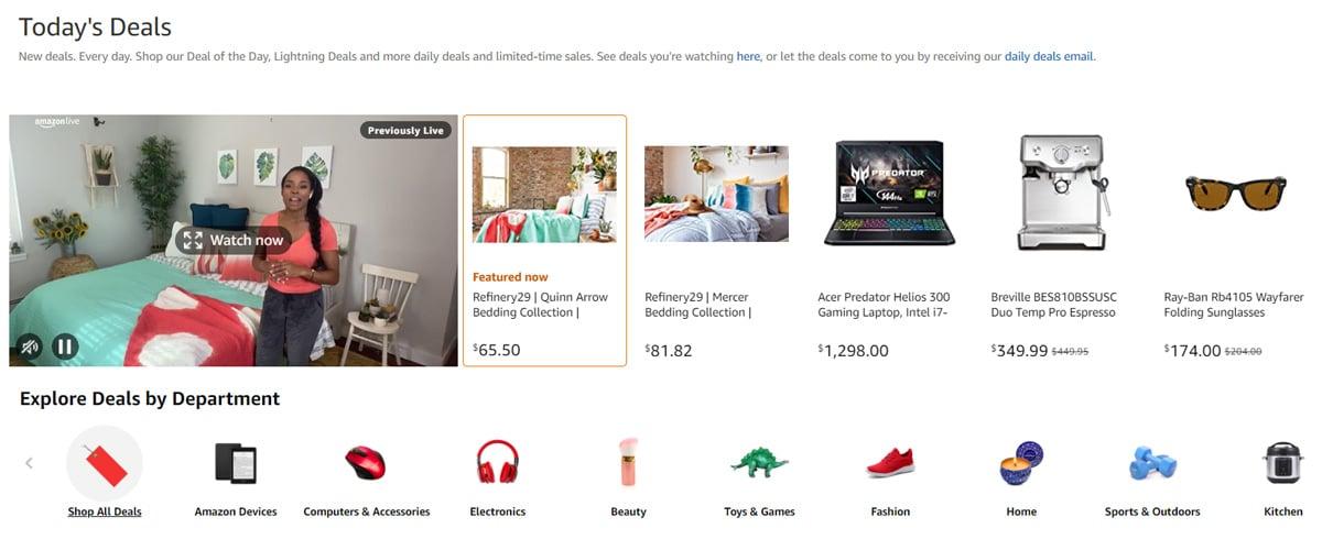 Amazon deals page