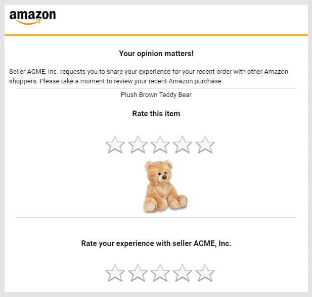 Example of the email that Amazon sends to buyers to request a product review and seller feedback