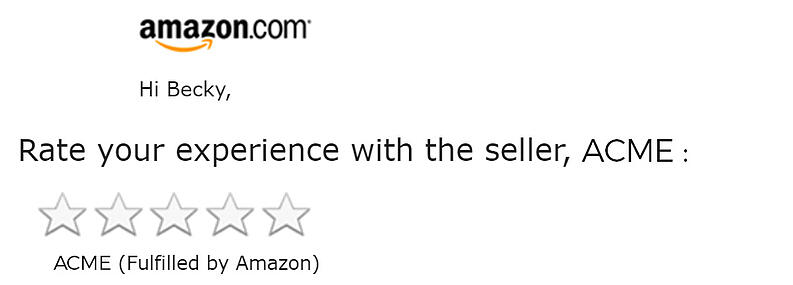 Example of an Amazon one-tap review request