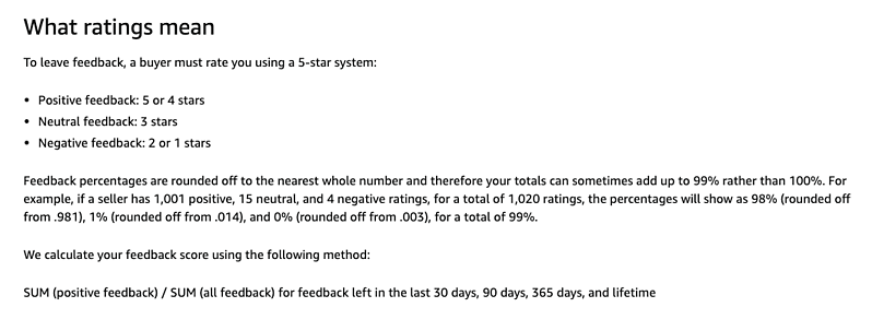 Amazon's explanation of ratings on the About Feedback Manager page