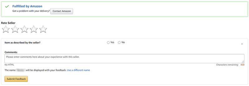 Amazon seller feedback form for an FBA order
