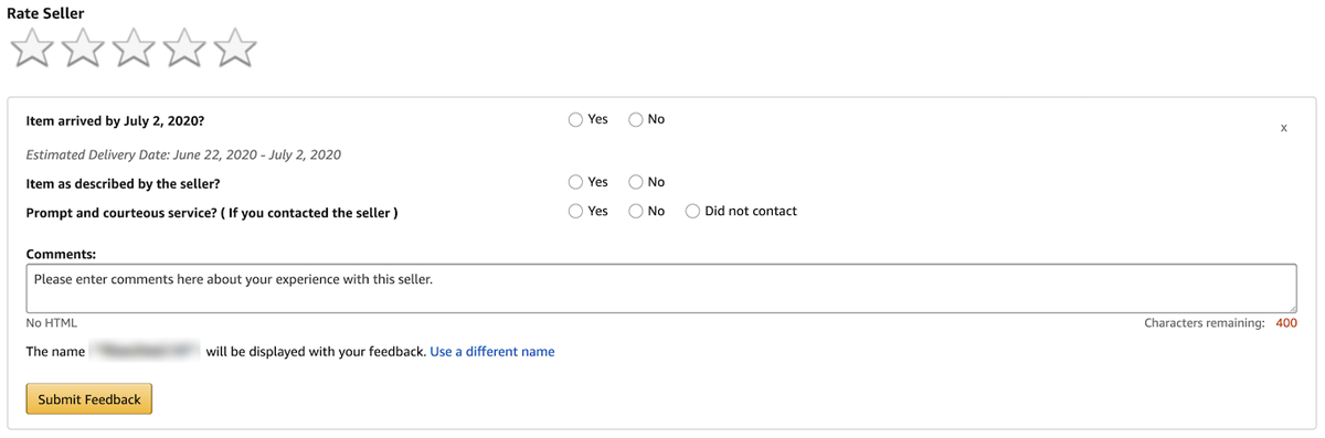 Amazon seller feedback form for an FBM order