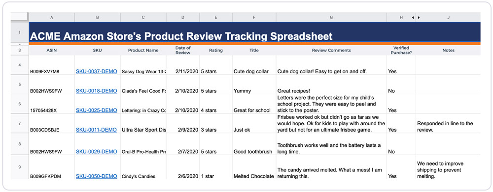 Screenshot that shows Acme Amazon store's product review tracking spreadsheet