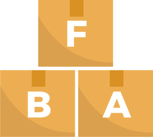 Three boxes with the letters F B and A on each box