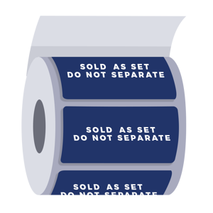 Roll of labels with text: Sold as set, do not separate