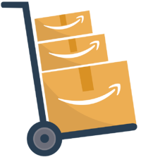 Trolley with stack of Amazon boxes