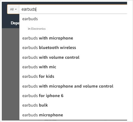 """Amazon search bar with suggested results for term, """"Earbuds"""""""