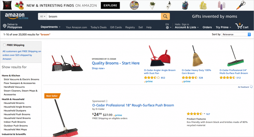 "Amazon search results for term, ""Broom"""