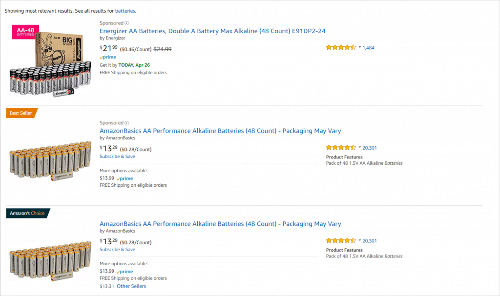 "Amazon search results for term, ""Batteries"""