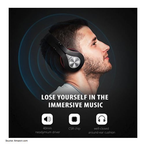 "Lifestyle image that shows a male wearing headphones with text, ""Lose yourself in the immersive music"""