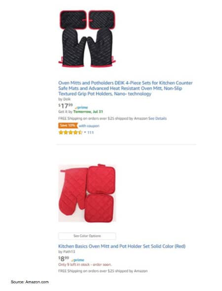 Amazon search results page for oven mitts