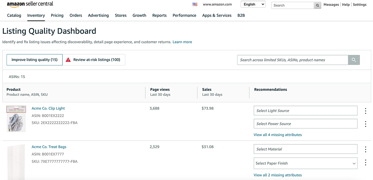 Improve listing quality tab in the Amazon Listing Quality Dashboard