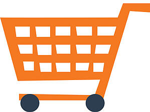 Illustration of an orange shopping cart with black wheels