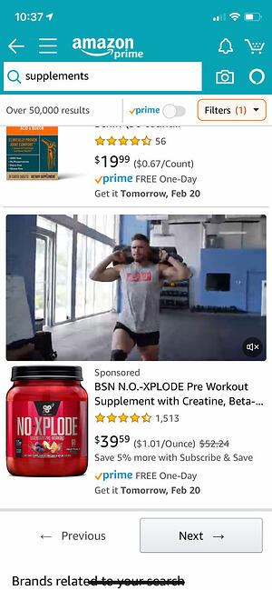 Screenshot showing video placement for Amazon Sponsored Brand video on mobile device