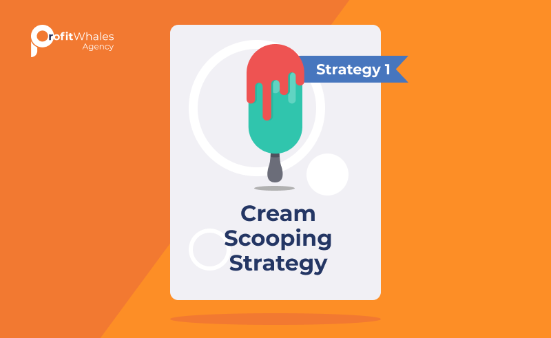 Illustration of ice cream bar with text, Strategy 1 cream scooping strategy