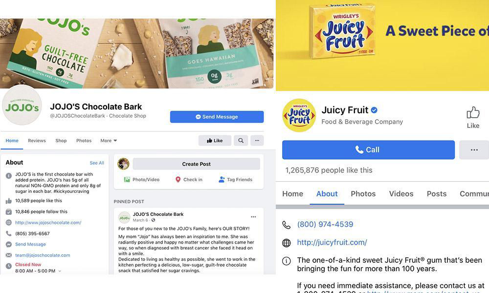 Examples of branded Facebook pages with contact options