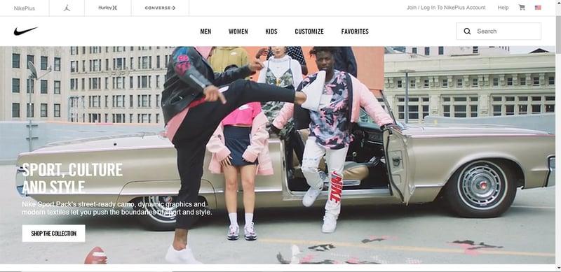 Nike US homepage