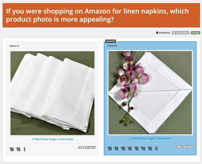 PickFu poll for Amazon linen napkin photos