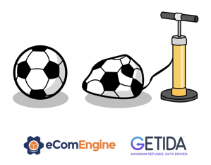 Soccer ball and pump above eComEngine and GETIDA logos