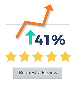 "Line graph showing a 41% increase with a gray button that contains text, ""Request a Review"""
