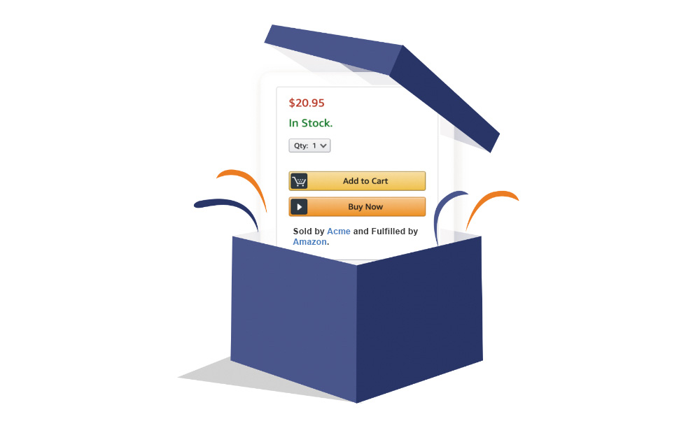Illustration of a blue box that is popping open to reveal an Amazon Buy Box