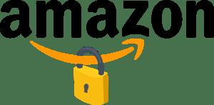 Padlock hanging from the Amazon logo