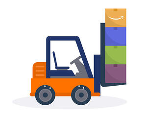 Forklift with multiple boxes
