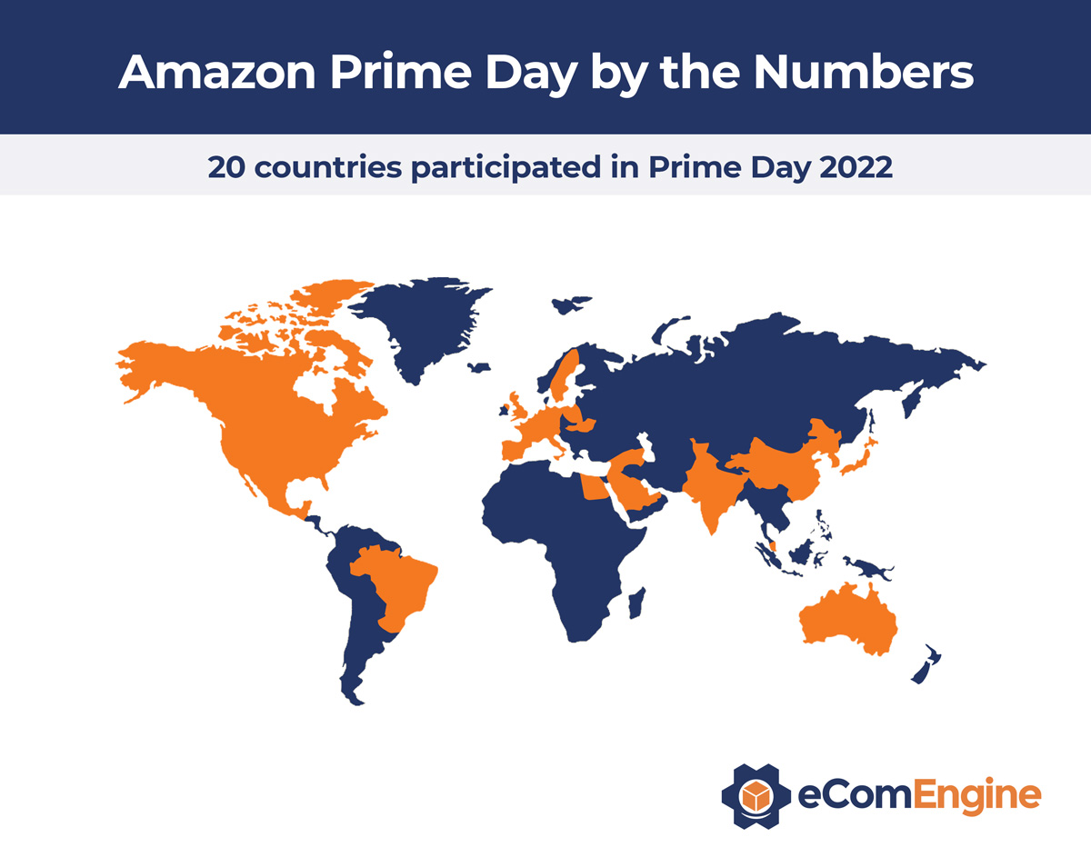 World map highlighting countries that participated in Amazon Prime Day 2020