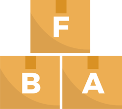 """Boxes spelling out """"FBA"""""""