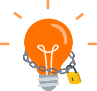 Idea lightbulb with a chain and padlock