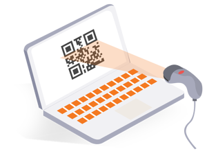 Laptop with QR code and scanner