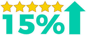 15 percent increase with five yellow stars and arrow pointing up