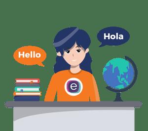Human translator at desk with books and globe