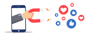Illustration of hand holding a magnet attracting social media icons
