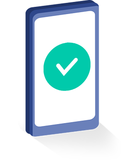 Green check mark on a mobile phone