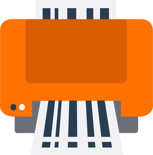 Orange printer with FBA labels