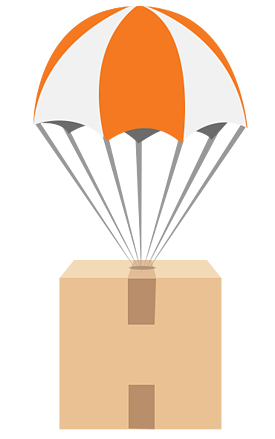 Box with parachute