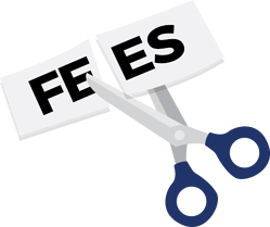"""Scissors cutting a piece of paper with text, """"Fees"""""""