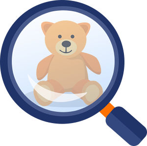 Teddy bear under a magnifying glass