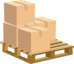 Boxes on a wooden pallet