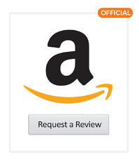 """Amazon logo above a gray button with text, """"Request a Review"""""""