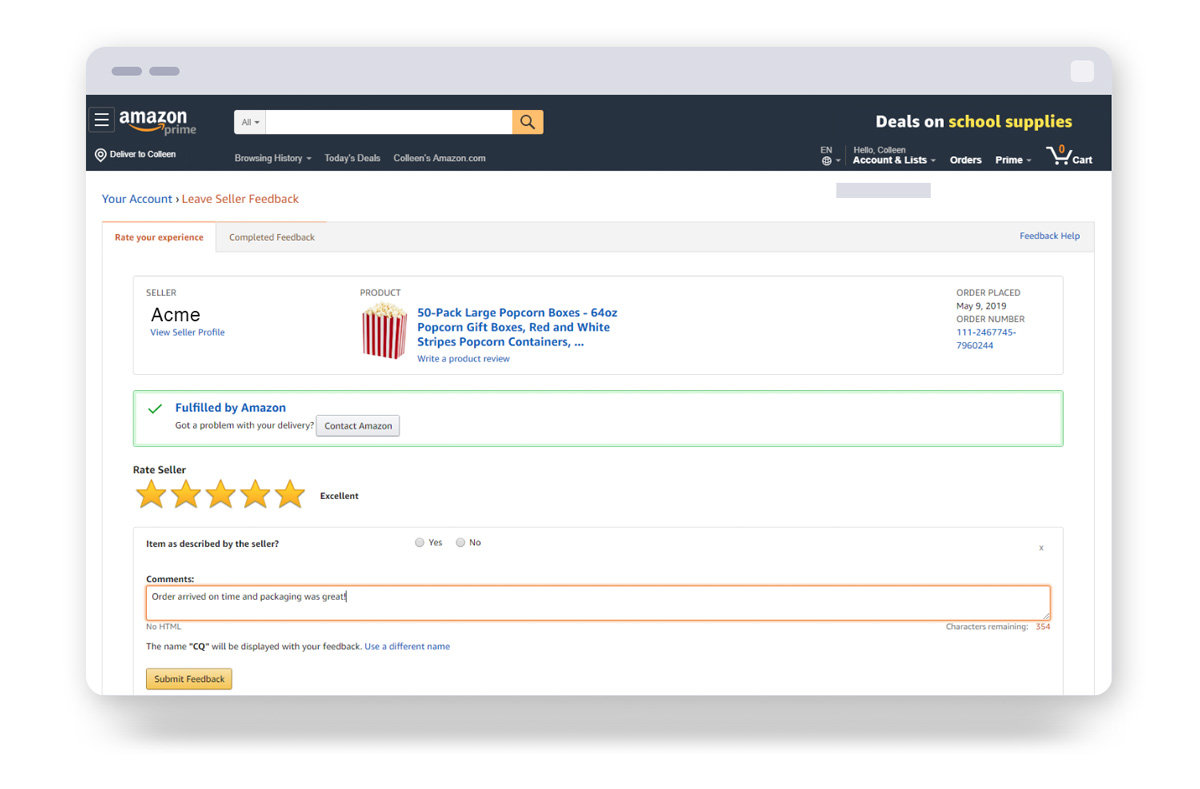 Rate your experience tab in the Leave Seller Feedback view in Amazon account