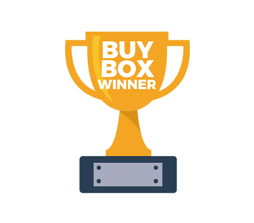 "Gold trophy on a black and silver pedestal with text, ""Buy box winner"""