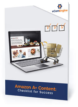"Checklist cover with text, ""Amazon A+ content: checklist for success"""