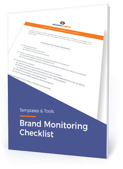 "Checklist cover with text, ""Brand monitoring checklist"""