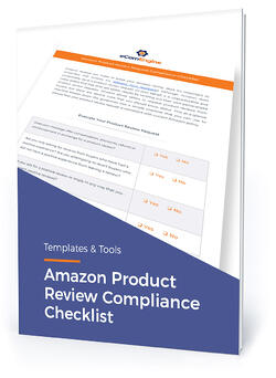 """Checklist cover with text, """"Amazon product review compliance checklist"""""""